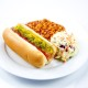 Hot Dog with Baked Beans and Coleslaw