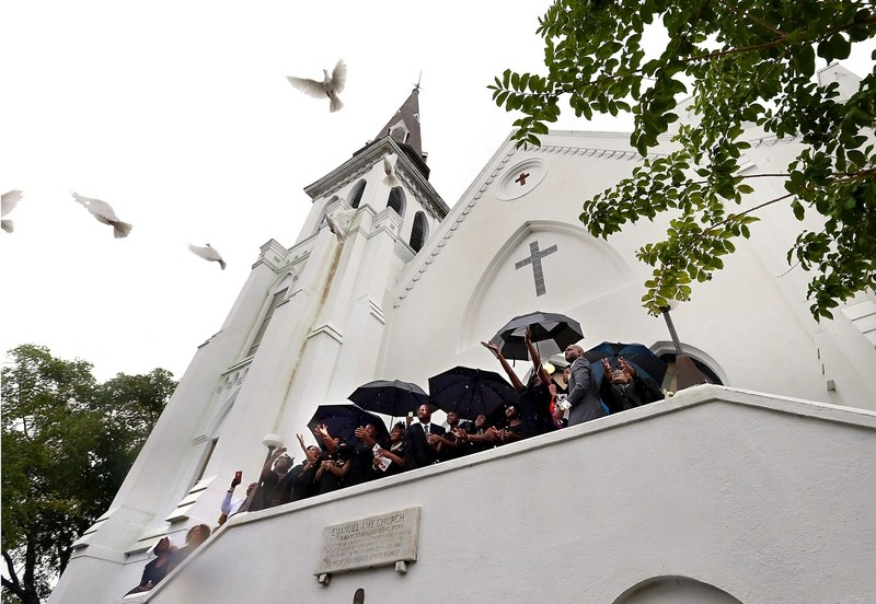 The release of nine doves at Emanuel AME Church. The church is now nominated for the 2016 Nobel Peace Prize.